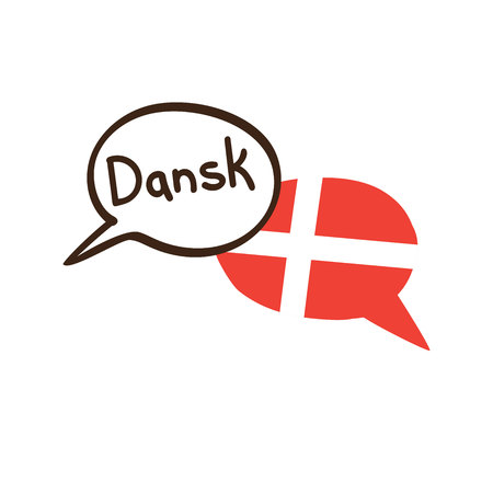 Translation: Danish. Vector illustration of hand drawn doodle speech bubbles with a national flag of Denmark and hand written name of language. Linguistic course or translation agency design