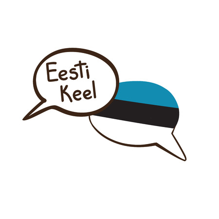 Translation: Estonian. Vector illustration of hand drawn doodle speech bubbles with a national flag of Estonia and hand written name of the language. Language course or translation agency design.  イラスト・ベクター素材