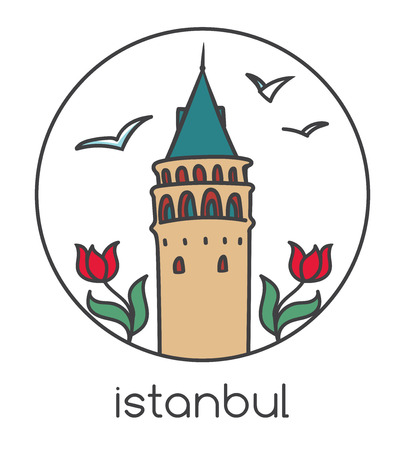 Vector illustration of famous landmark in Istanbul - Galata tower, tulip flowers and seagulls. Hand drawn doodle architecture in circle frame. Tourism and travel print design with turkish symbols.