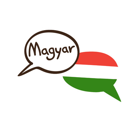 Translation: Hungarian. Vector illustration of hand drawn doodle speech bubbles with a national flag of Hungary and hand written name of language. Linguistic course or translation agency design Ilustração