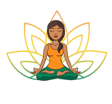 Vector doodle illustration of young cute indian girl meditating in lotus pose with flower petals behind. Cartoon character for yoga and meditation practice isolated on white.