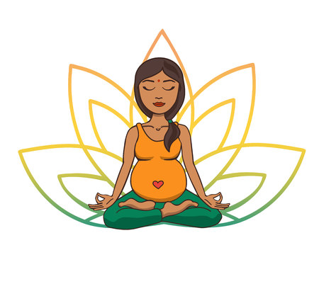 Prenatal yoga. Vector illustration of young cute Indian girl meditating in lotus position with flower petals in green and yellow gradient colors behind. Pregnant woman doing meditation practice.