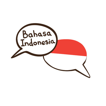 Translation: Indonesian. Vector illustration of hand drawn doodle speech bubbles with a national flag of Indonesia and hand written name of language. Linguistic course or translation agency design Illustration
