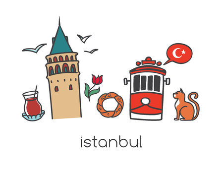 Vector illustration Istanbul with hand drawn doodle turkish symbols: Galata tower, tea glass, tram, simit bagel, seagull, tulip and a national flag of Turkey. Bright colorful elements on white. Illustration