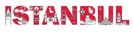 Vector illustration of turkish symbols on word Istanbul. Horizontal panoramic banner for travel design. Hand drawn doodle elements in black, white and red colors in simple modern line style.