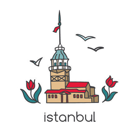 Colorful vector illustration of famous landmark in Istanbul, Turkey - Maiden tower with tulip flowers and seagulls. Hand drawn doodle symbols for tourism and travel design with turkish attraction. Çizim