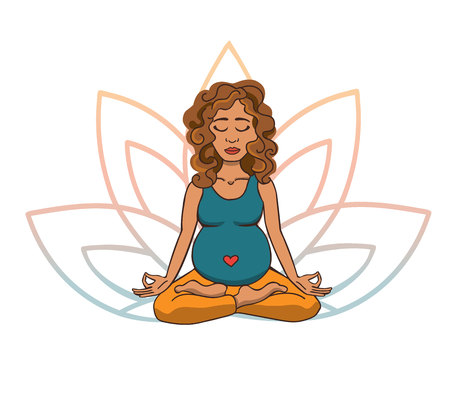 Vector doodle illustration of young cute latin american girl meditating in lotus pose with flower petals behind. Cartoon character for yoga and meditation practice isolated on white.