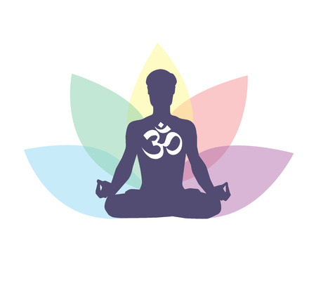 Vector illustration with meditating man, religious symbol Om and lotus petals behind. Isolated on white background. Meditation or yoga conceptual icon for logo, poster, banner, flyer or card design. Ilustração