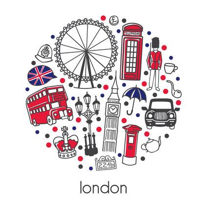 Londen. Moderne vectorillustratie met teken, symbolen, zwart en wit. Stockfoto - 104198567