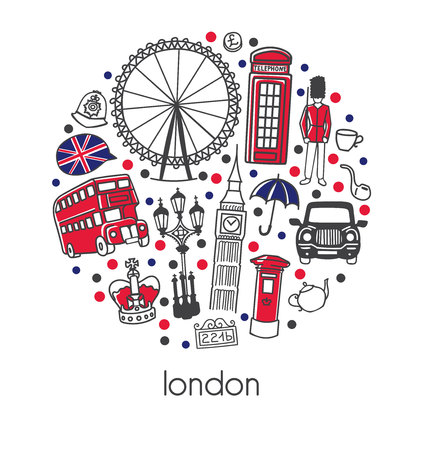 London. Modern vector illustration with sign, symbols, black and white.