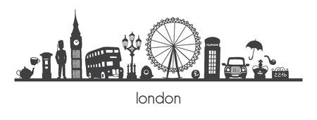 Vector ilustración moderna Londres de famosos símbolos y atracciones británicos. Escena panorámica horizontal para banner o diseño de impresión. Estilo minimalista simple del horizonte de silueta de doodle negro. Ilustración de vector