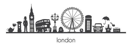 Vector modern illustration London of famous british symbols and attractions. Horizontal panoramic scene for banner or print design. Simple minimalistic style of black doodle silhouette skyline. Archivio Fotografico - 104198568