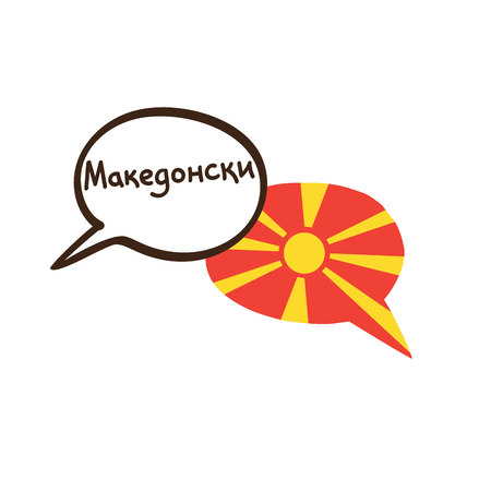 Translation: Macedonian. Vector illustration of hand drawn doodle speech bubbles with a national flag of Macedonia and hand written name of language. Linguistic course or translation agency design.