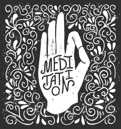 Meditation. Vector illustration with white hand silhouette in pose with lettering on black background with swirls. Yoga conception for print, poster, flyer and card design.
