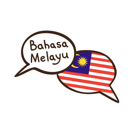 Translation: Malaysian language. Vector illustration of hand drawn doodle speech bubbles with a national flag of Malaysia and hand written name. Design for a linguistic course or translation agency Иллюстрация