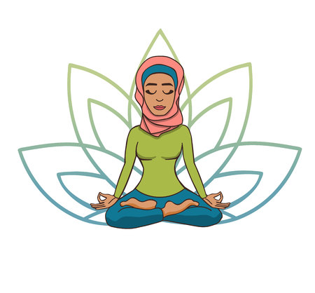 Vector doodle illustration of a cute young muslim girl in a scarf meditating in a lotus pose with a flower petals behind. Cartoon character for yoga and meditation practice isolated on white.
