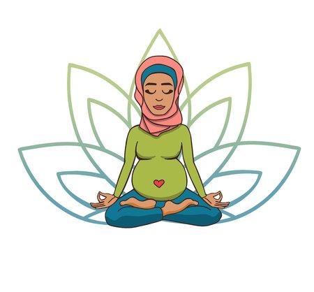 Yoga prenatal. Ilustración de vector de niña musulmana linda meditando en posición de loto con pétalos de flores en colores degradados verdes y azules detrás. Mujer embarazada haciendo práctica de meditación.