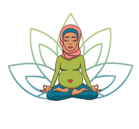 Prenatal yoga. Vector illustration of young cute muslim girl meditating in lotus position with flower petals in green and blue gradient colors behind. Pregnant woman doing meditation practice.