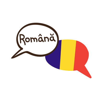 Translation: Romanian. Vector illustration of hand drawn doodle speech bubbles with a national flag of Romania and hand written name of the language. Language course or translation agency design.