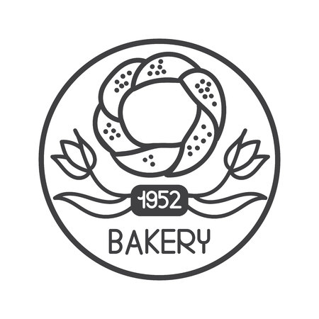 Modern vector illustration of famous turkish bagel with red tulip. Hand drawn doodle elements in circle frame for logo design of cafe, bakery, store or street food market.