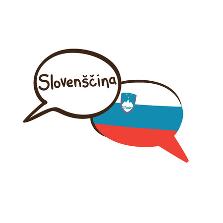 Translation: Slovenian. Vector illustration of hand drawn doodle speech bubbles with a national flag of Slovenia and hand written name of language. Linguistic course or translation agency design Banque d'images - 104184774