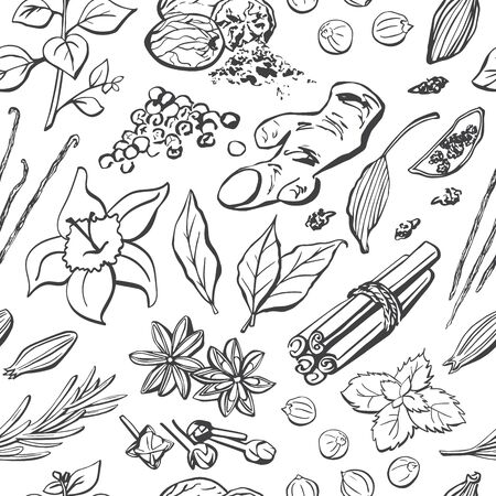 seamless pattern of spices and herbs. Hand drawn elements on background in black and white. Wrapping paper, package, print, backdrop design. Culinary and cooking theme.