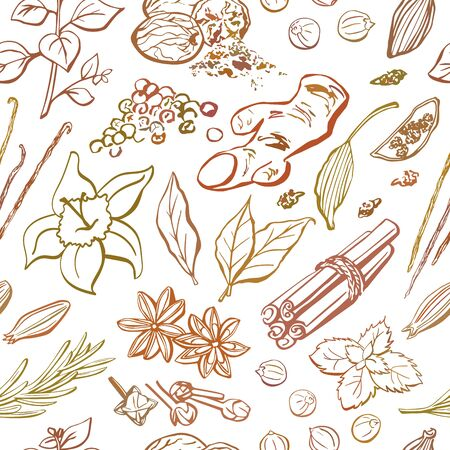 seamless repetitive pattern of spices and herbs. Hand drawn elements in brown, orange, beige colors on white background. Wrapping paper, package, print, backdrop design. Ilustracja