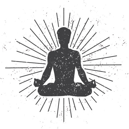 Vector illustration of a male silhouette in meditating lotus pose with scroll and sunburst on white background with dirty grunge texture. Yoga concept print, poster, card and flyer design for men. Ilustração