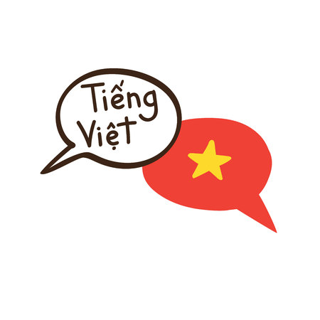 Translation: Vietnamese. Vector illustration of hand drawn doodle speech bubbles with a national flag of and hand written name of the language. Language course or translation agency design.
