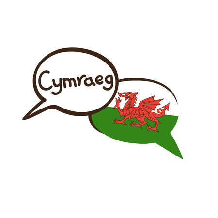Translation: Welsh. Vector illustration of hand drawn doodle speech bubbles with a national flag of Wales and hand written name of language. Linguistic course or translation agency design Stock Vector - 104184787