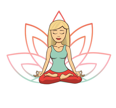 Vector doodle illustration of young cute blonde girl meditating in lotus pose with flower petals behind. Cartoon character for yoga and meditation practice isolated on white.