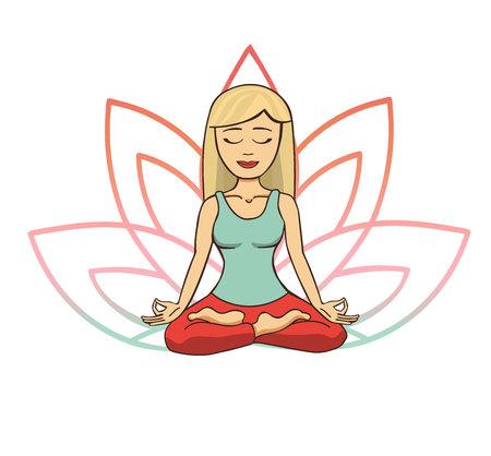 Ilustración de vector doodle de joven linda chica rubia meditando en posición de loto con pétalos de flores detrás. Personaje de dibujos animados para la práctica de yoga y meditación aislado en blanco.