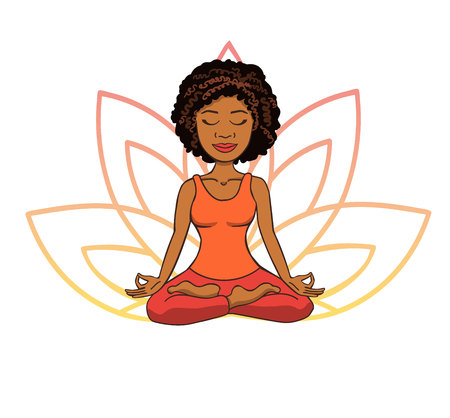 Vector doodle illustration of cute young african girl meditating in lotus pose with flower petals behind. Cartoon character for yoga and meditation practice isolated on white.