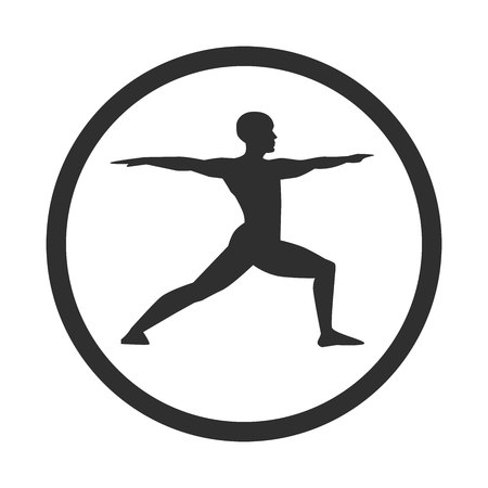 Vector illustration of a young man doing yoga practice. Black male silhouette in a warrior position with a circle. Icon, logo, label, banner, print, card design.
