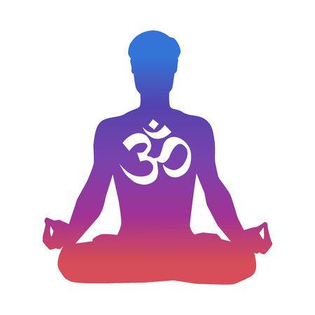 Ilustración de vector de un hombre meditando en posición de loto. Silueta masculina en colores azul degradado, rosa, violeta y signo religioso Om. Diseño de impresión, cartel, tarjeta y volante de concepto de yoga. Ilustración de vector