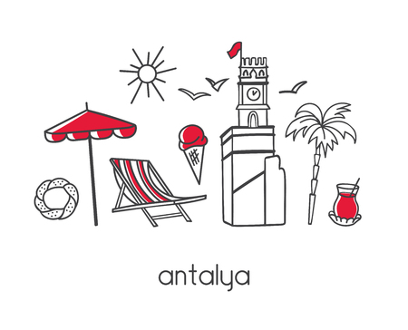 Vector modern illustration Antalya (Turkey) with hand drawn doodle turkish symbols. The clock tower, palm tree, tea, beach elements. Simple minimalistic style with black outline and red elements.