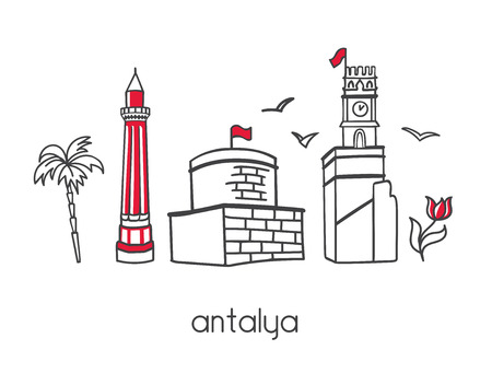 Modern vector illustration Antalya with turkish symbols and attractions: palm tree, clock tower,. Simple minimalistic design with black outline. Illustration
