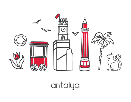Modern vector illustration Antalya, Turkey Minaret, clock tower, seagulls, bagel cart, palm tree, tulip flower. Travel card, poster, banner design.