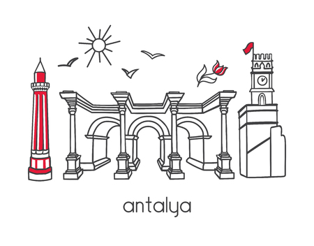 Modern vector illustration Antalya, Turkey Minaret, gate, clock tower, seagulls, sun and tulip flower. Travel card, poster, banner design.