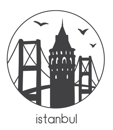 Istanbul. Vector illustration of famous turkish attractions. Black silhouettes with round frame. Travel icon, emblem, logo.