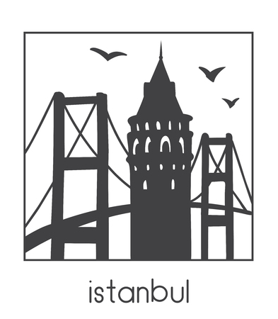 Istanbul. Vector illustration of famous turkish attractions. Black outline frame. Travel icon, emblem, logo.