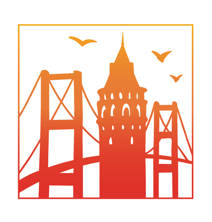 Istanbul. Vector illustration of famous turkish attractions. Red and orange gradient silhouettes of galata