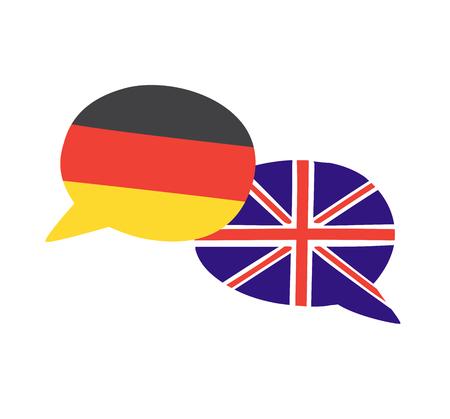 Drapeau de griffonnage dessiné à la main des drapeaux nationaux du pays. Design moderne pour cours de langues étrangères, classes, école ou agence de traduction.