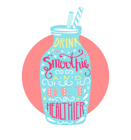 Drink smoothie and get healthier. Bright colorful cup with cold fresh drink. Card, poster or advertising flier design for cafe or bar. Ilustrace