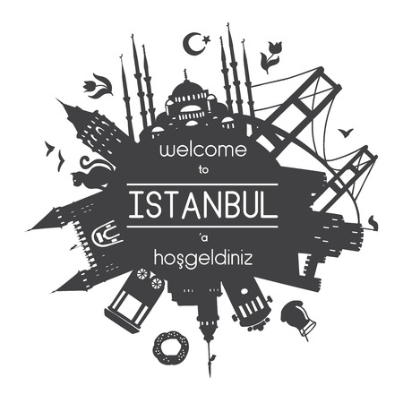 Welcome to Istanbul. Vector illustration of famous turkish attractions. Black background with text or message.