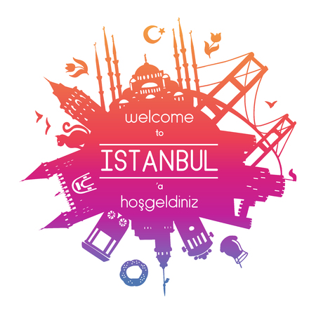 Welcome to Istanbul. Vector illustration of famous turkish attractions. Graduient silhouettes for your text or message.