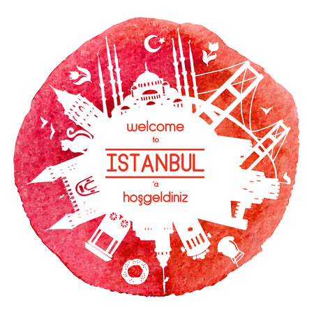 Welcome to Istanbul. Vector illustration of famous turkish attractions. Red watercolor on the background.