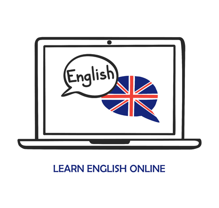 Vector illustration Learn English online. Doodle laptop with two speech bubbles on screen. Hand writing and the national flag of the United Kingdom. Modern design for language school, class, course.