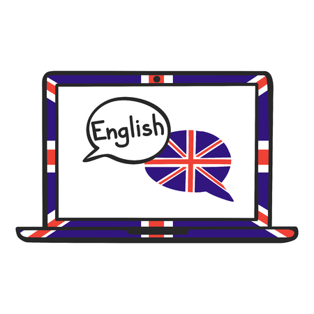 English. Vector illustration with speech bubbles, the national flag of the UK and hand written on the screen of a laptop. Online linguistic school, course, class logo, icon design Illustration