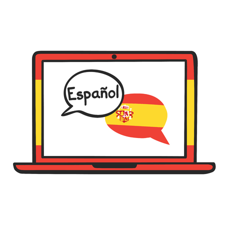 Spanish. Vector illustration with speech bubbles, the national flag of Spain and hand written on the screen of a laptop. Online linguistic school, course, class logo, icon design Stock Vector - 107016552